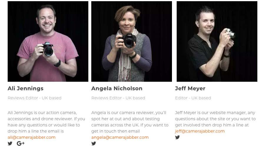 exemplo de página Sobre Nós em um site de fotografia