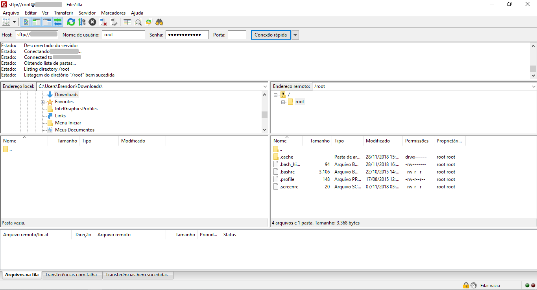 acessar o servidor via linha de comando