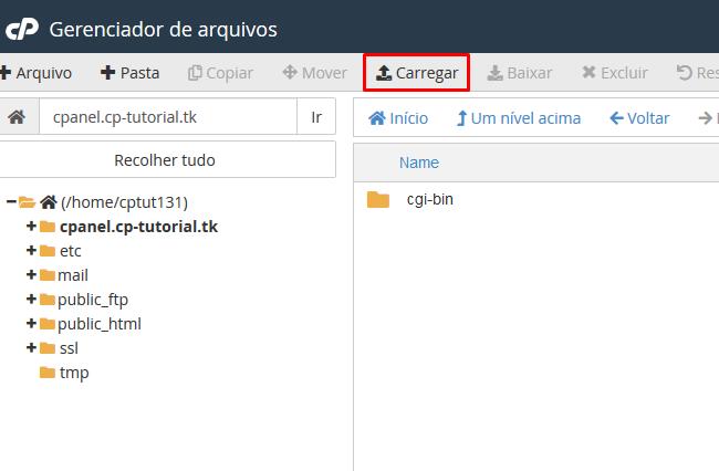 opção carregar no gerenciador de arquivos do cpanel