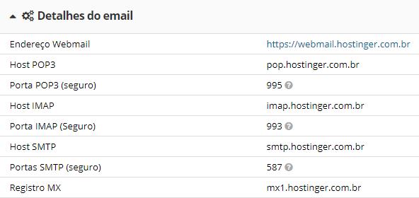 parâmetros de email no servidor de hospedagem