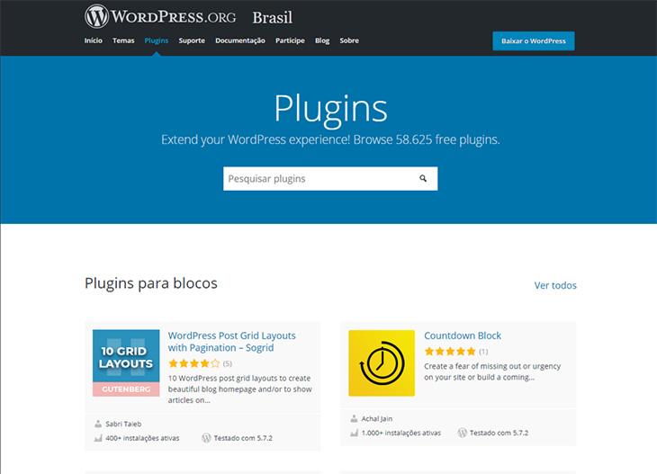 página de plugins do wordpress