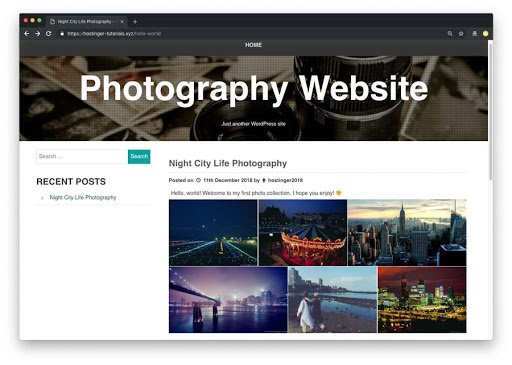 exemplo de site de fotografia no wordpress