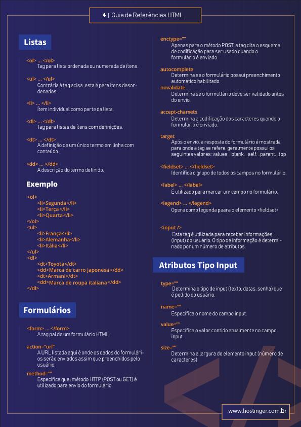 guia de códigos html