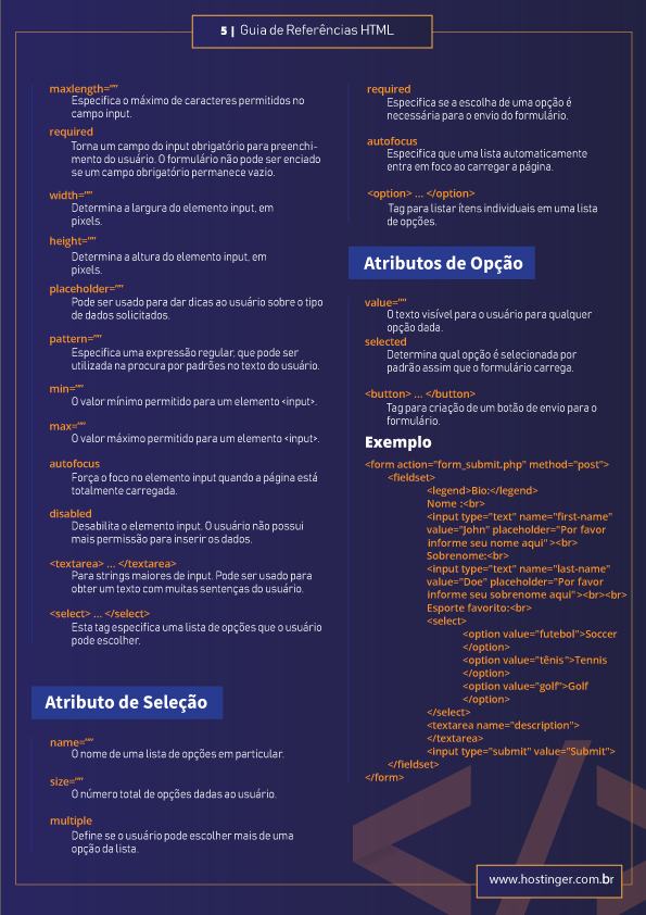 referências html5 no seu site