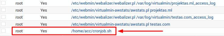 tarefa cron criada com sucesso no webmin
