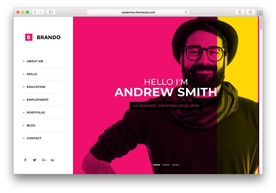 criar portfólio no WordPress com o tema premium Brando