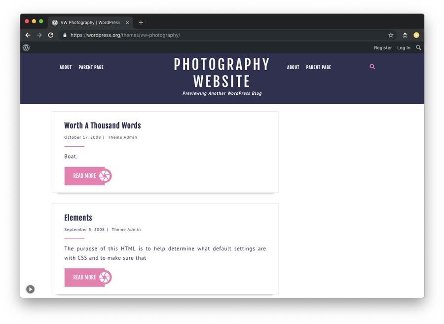 temas wordpress para criar um site de fotografia