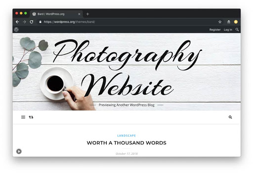 tema Bard para fotografias no WordPress