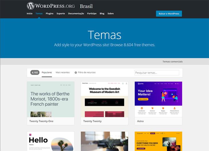 lista de temas do wordpress