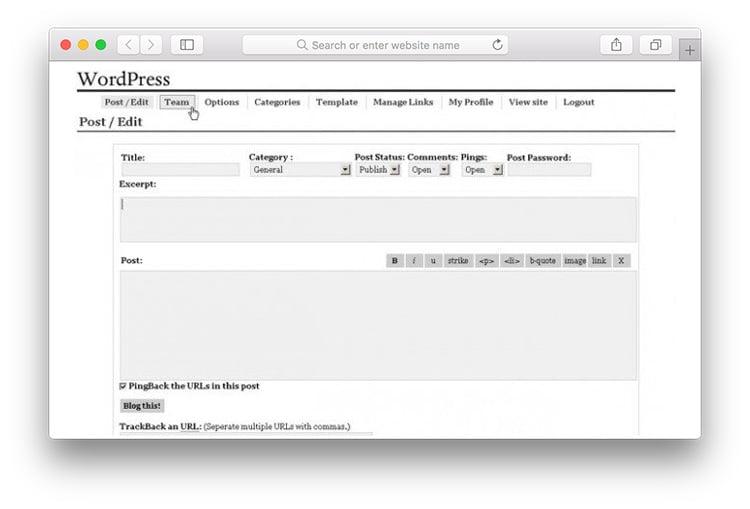 versão modelo do primeiro wordpress