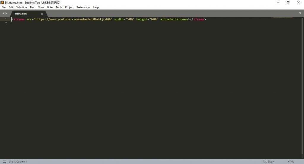 Editor HTML Sublime