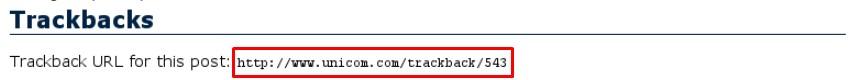 Como fica a URL de um trackback