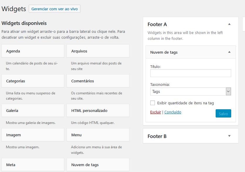 adicionar nuvem de tags wordpress