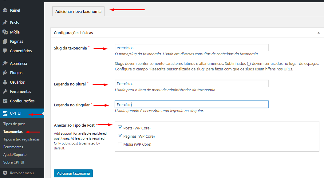 Adicionar taxonomias via plugin