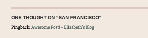 Aparência de um pingback em um post WordPress