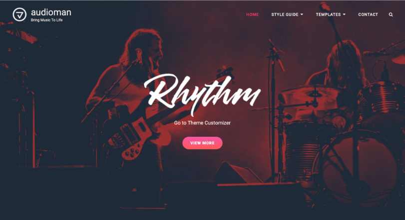 tema Audioman para sites de música