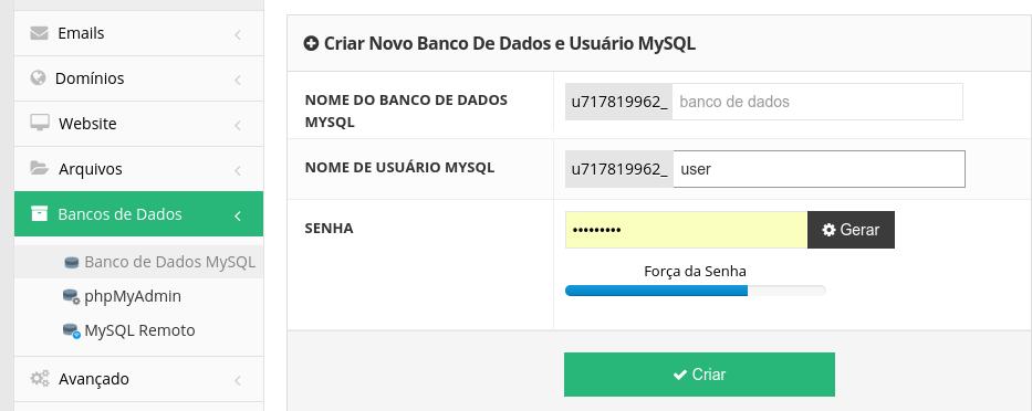 acesso ao banco de dados mysql na Hostinger