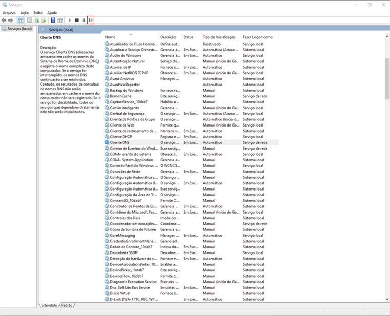 reiniciar o cliente dns no gerenciador de serviços do windows