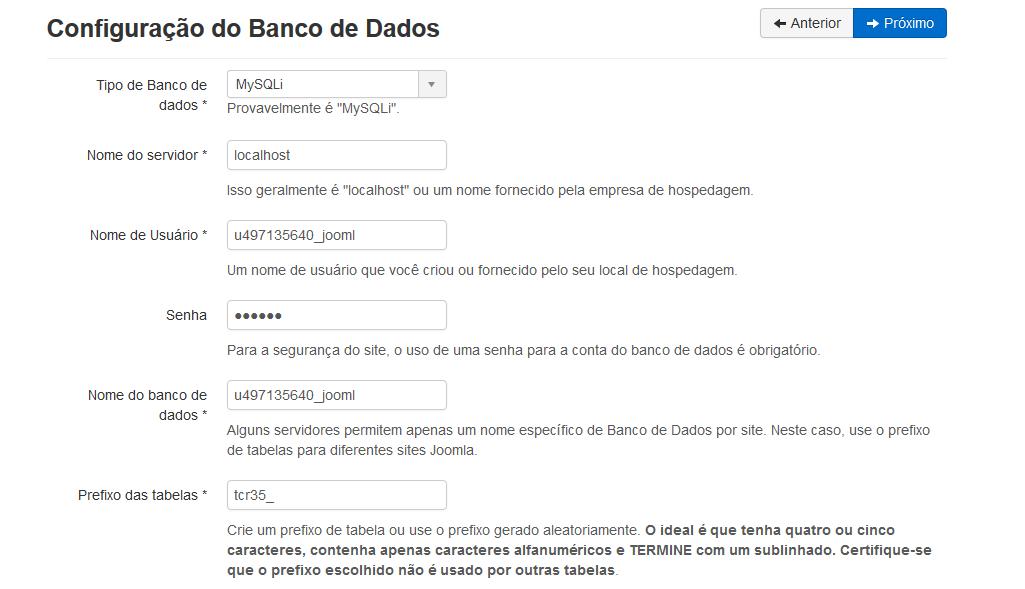 configurações do banco de dados