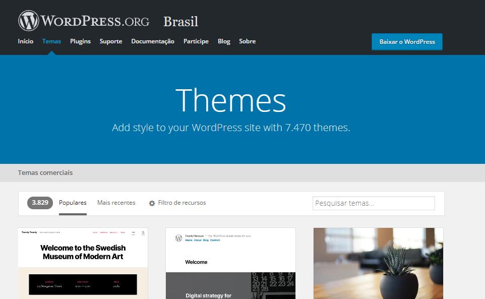 diretório de temas WordPress
