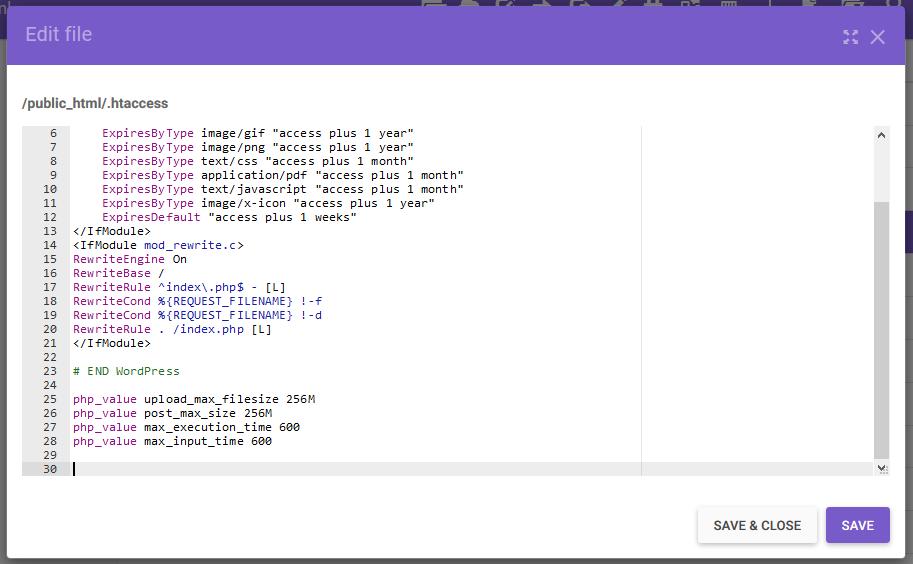inserir código no arquivo .htaccess
