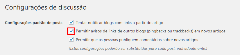 Como habilitar pingbacks e trackbacks no WordPress