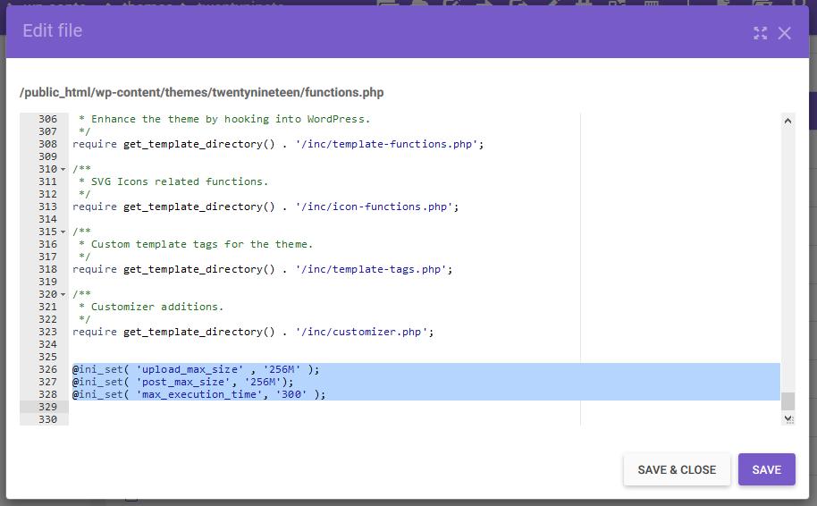 inserir código no arquivo functions.php