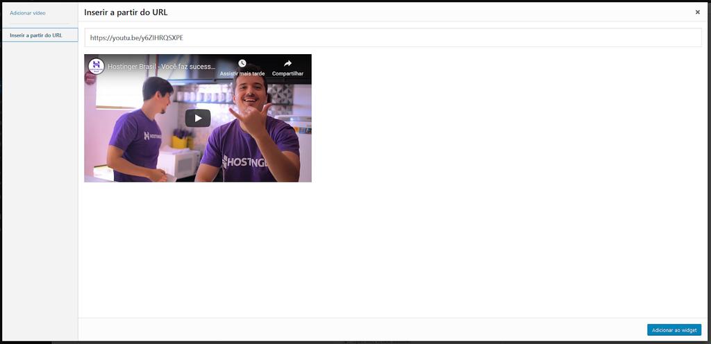 Adicionar widget de vídeo no WordPress