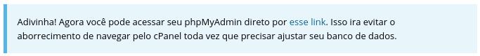 link de acesso ao banco de dados phpmyadmin