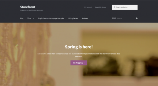página inicial do template Storefront