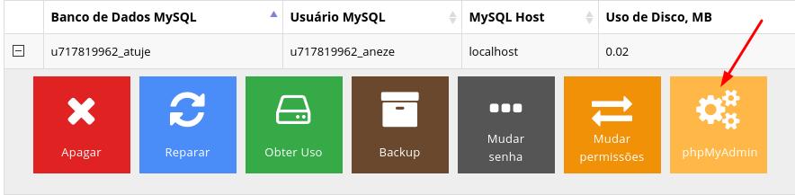 acessar banco de dados pelo phpmyadmin