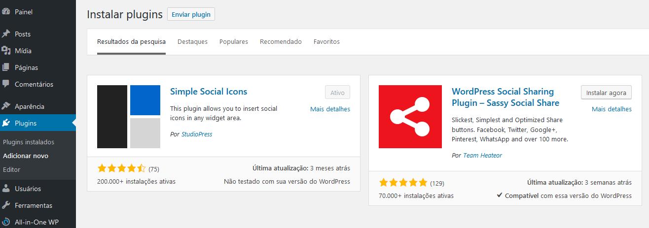 Instalação do plugin Simple Social Icon