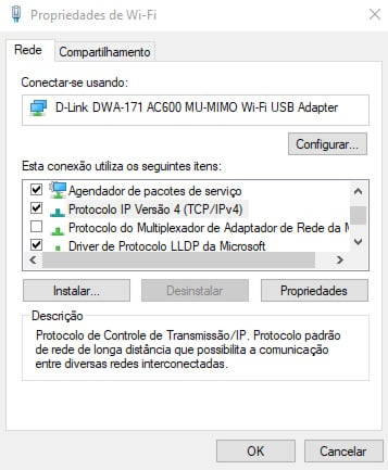 propriedades de internet no windows