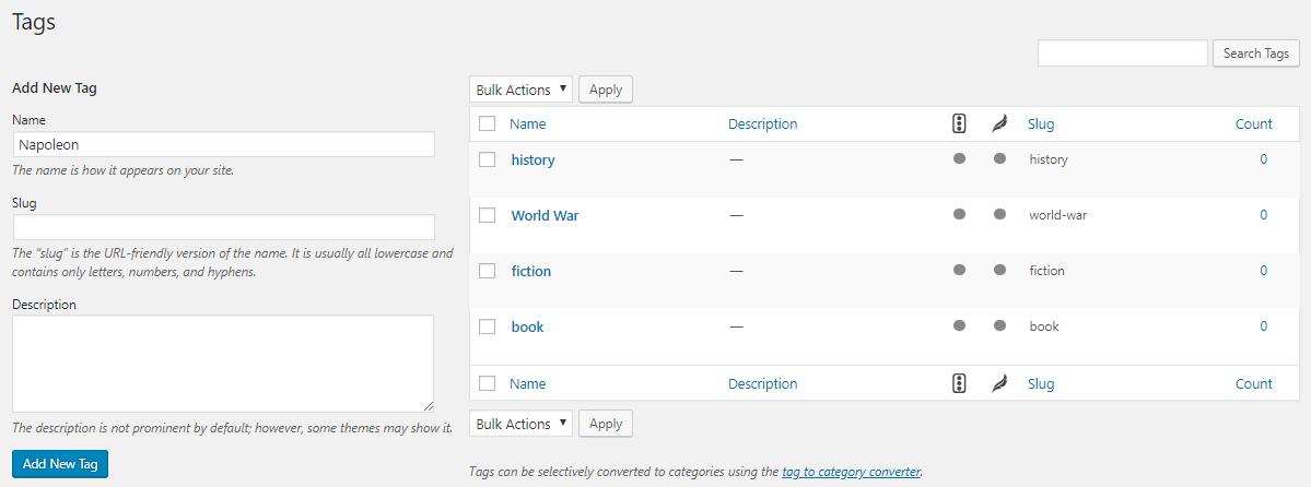 adicionar slugs wordpress