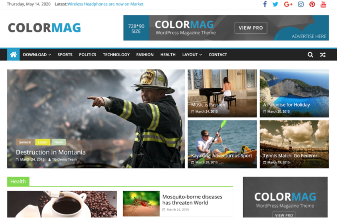 primeira página do template ColorMag