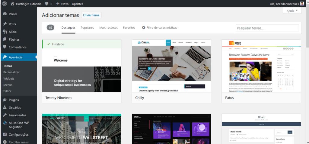 Adicionar temas. Tutorial WordPress é bom?