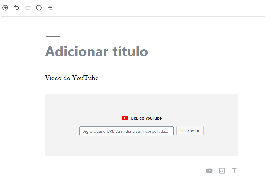 Adicionar vídeo incorporado do YouTube