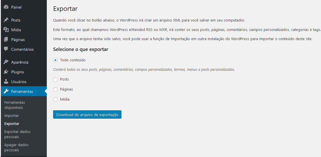 Ferramenta Exportar Site WordPress