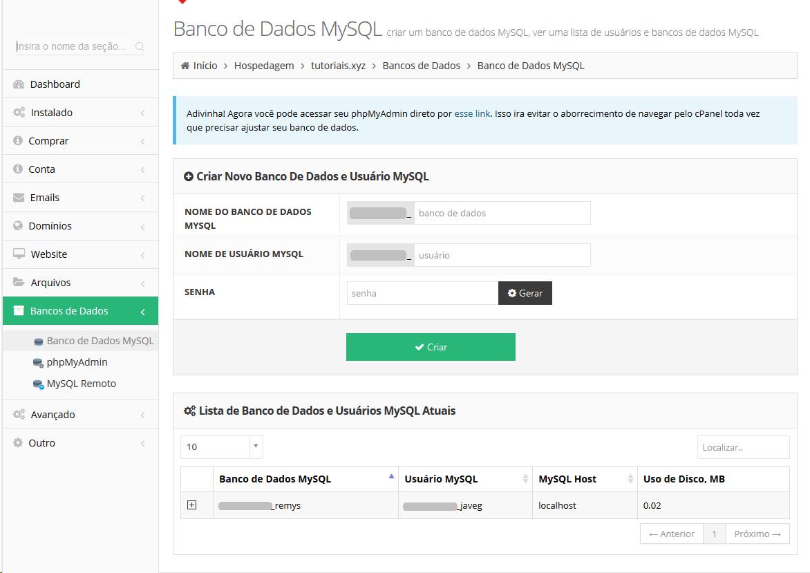 Localizar Bancos de Dados no Painel da Hospedagem