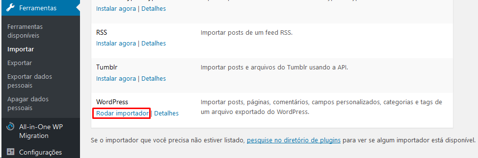 Rodar Importar Site WordPress