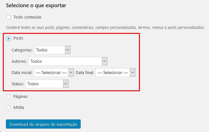 Selecionar Arquivos Exportar Site WordPress