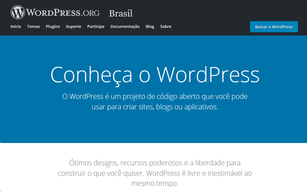 Site oficial da plataforma WordPress