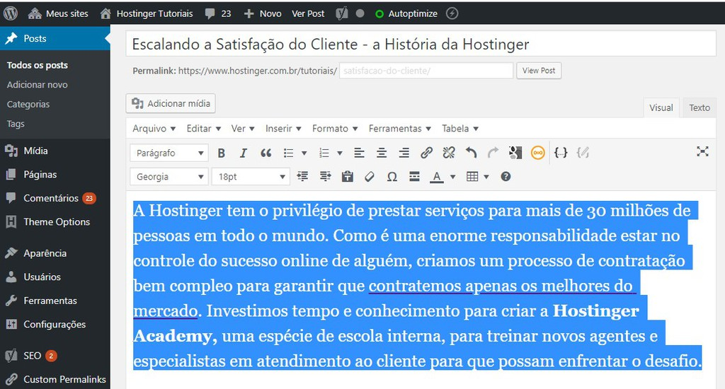 alterar fonte no wordpress