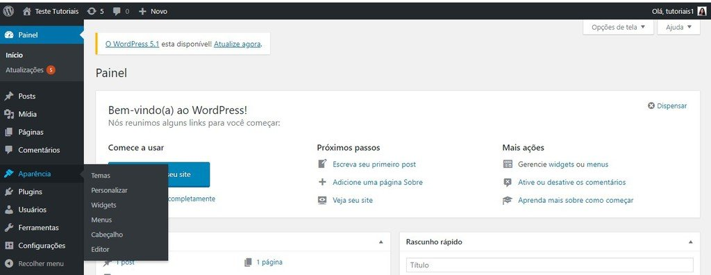 Menu Aparência Personalizar para alterar fonte no wordpress