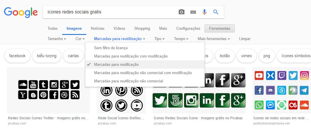 Baixar ícones sem direitos autorais no Google
