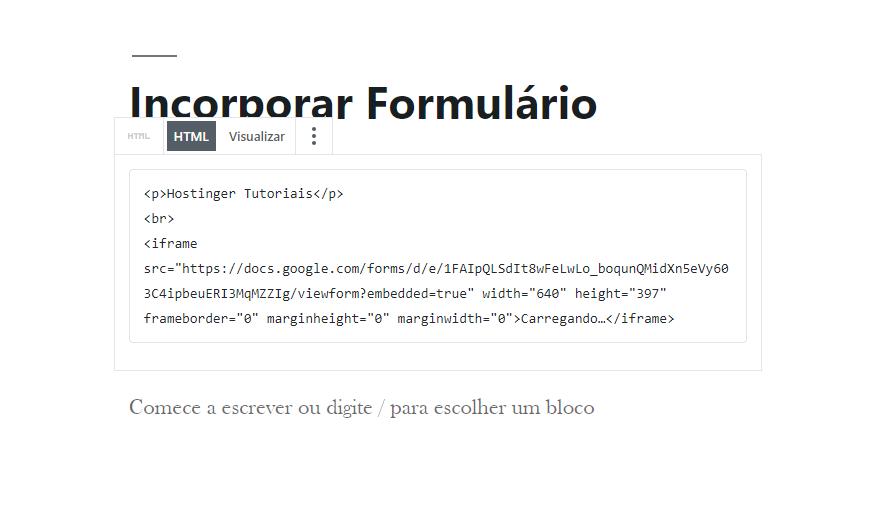 Editar como HTML no Gutenberg