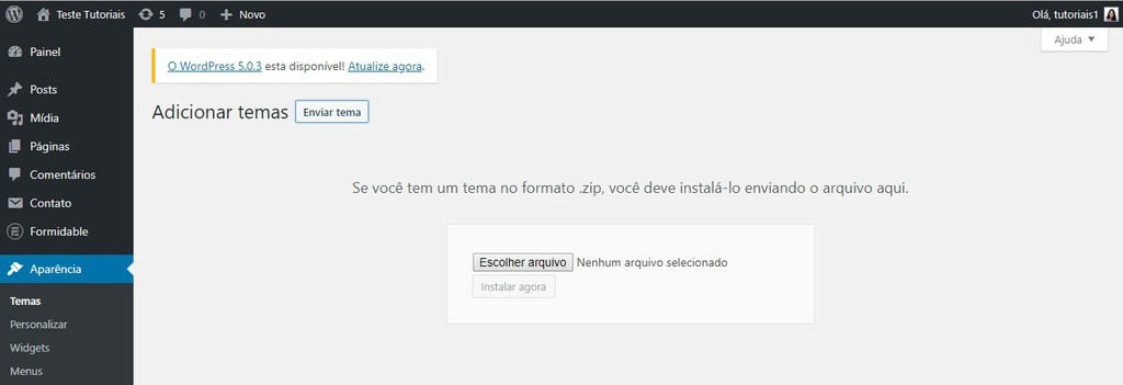 enviar tema wordpress