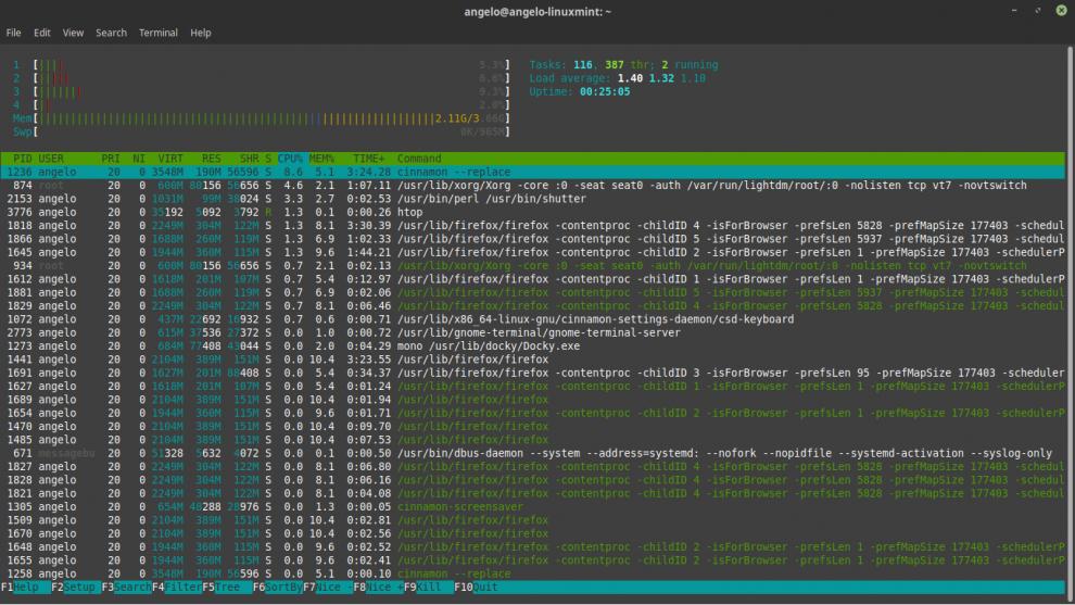 executando htop no ubuntu