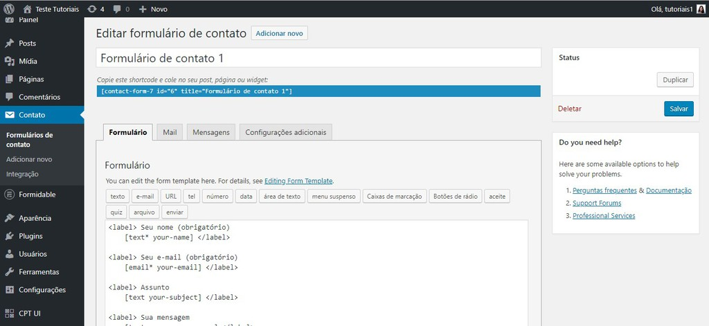 exemplo formidable contact form plugin