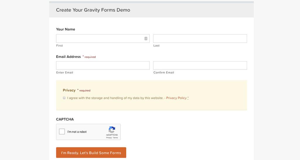 exemplo de formulário com gravity forms plugin